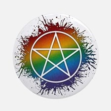 LGBT Pagan Pentacle Ornament (Round)