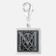 Celtic Monogram M Silver Square Charm