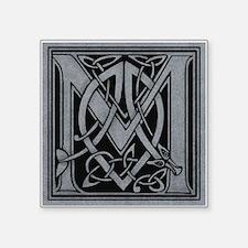"""Celtic Monogram M Square Sticker 3"""" x 3"""""""