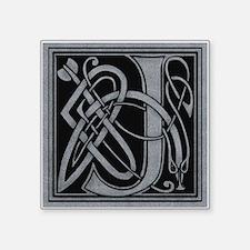 "Celtic Monogram J Square Sticker 3"" x 3"""
