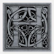 """Celtic Monogram H Square Car Magnet 3"""" x 3"""""""