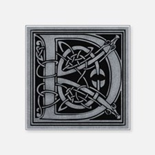 "Celtic Monogram D Square Sticker 3"" x 3"""
