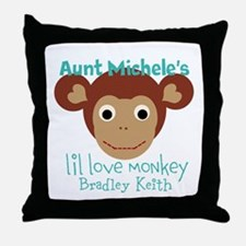 Personalize Love monkey Throw Pillow