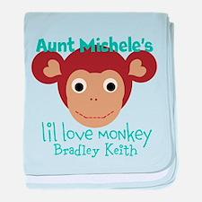 Personalize Love monkey baby blanket