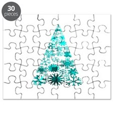 Christmas Tree of Snowflakes Green Mottled teal Pu
