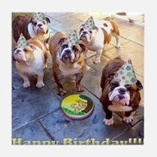 English Bulldog Birthday Tile Coaster