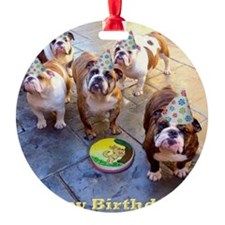 English Bulldog Birthday Party Ornament