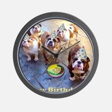 English Bulldog Birthday Party Wall Clock