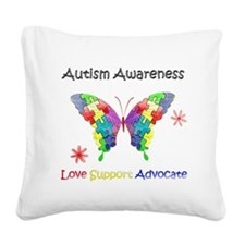 Autism Awareness Butterfly Square Canvas Pillow