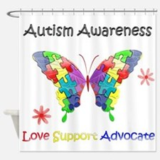 Autism Awareness Butterfly Shower Curtain