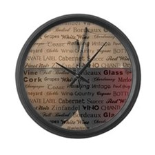 WINE WORDS Large Wall Clock