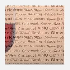 WINE TYPOGRAPHY Tile Coaster