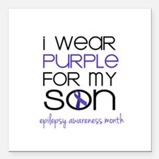 """Wear Purple for Son - Ep Square Car Magnet 3"""" x 3"""""""
