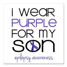"""I Wear Purple for My Son Square Car Magnet 3"""" x 3"""""""