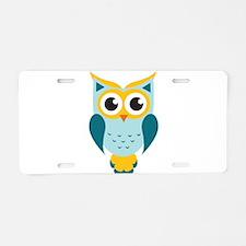 Teal Owl Aluminum License Plate
