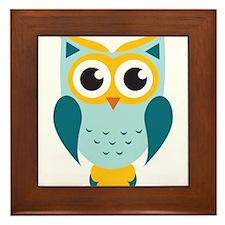 Teal Owl Framed Tile