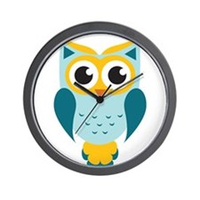 Teal Owl Wall Clock
