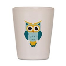 Teal Owl Shot Glass