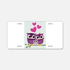 Owl Family Aluminum License Plate