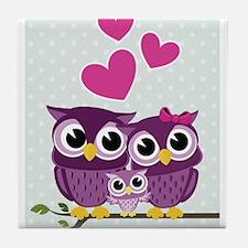 Owl Family Tile Coaster