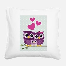 Owl Family Square Canvas Pillow