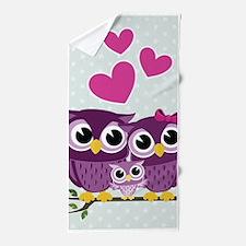 Owl Family Beach Towel
