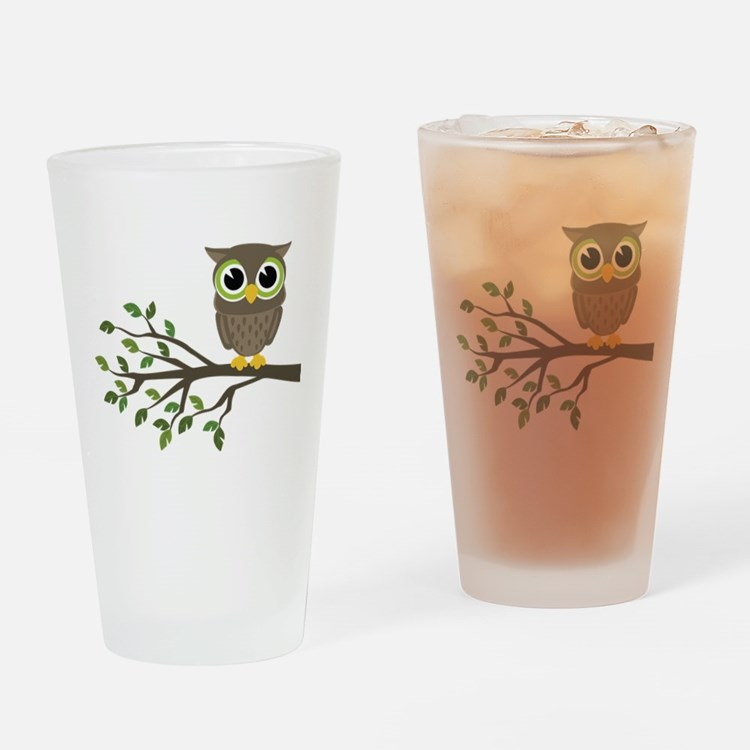 owl on branch Drinking Glass