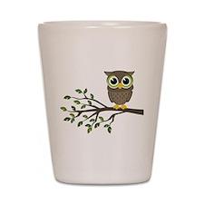 owl on branch Shot Glass