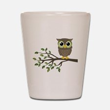 owl on branch Shot Glass