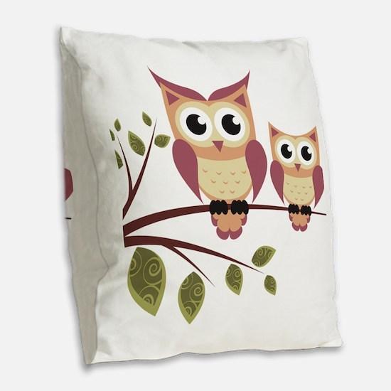 Duo of Owls Burlap Throw Pillow
