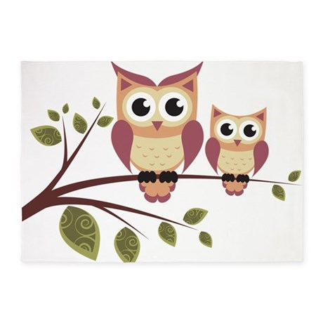 Duo Of Owls 5u0027x7u0027Area Rug