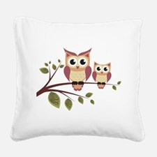 Duo of Owls Square Canvas Pillow