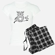 Black Script Owl Pajamas