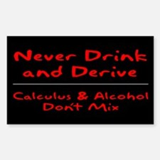 Drink and Derive Red Rectangle Decal