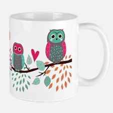 Teal and Pink Owls Mugs