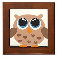 Brown Owl Family Framed Tile