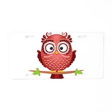 Coral Owl Aluminum License Plate
