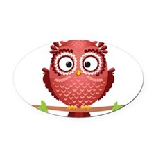 Coral Owl Oval Car Magnet