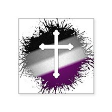 "Christian Cross Asexual Square Sticker 3"" x 3"""