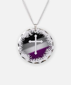 Christian Cross Asexual Necklace Circle Charm
