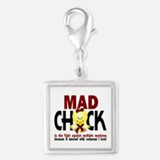 Multiple Myeloma Mad Chick 1 Silver Square Charm