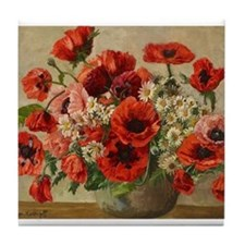 Red Poppy Bouquet Tile Coaster