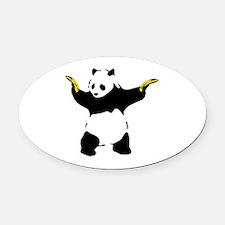 Bad Panda Oval Car Magnet
