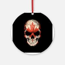 Canadian Flag Skull on Black Ornament (Round)