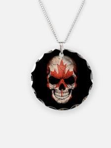 Canadian Flag Skull on Black Necklace