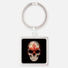 Canadian Flag Skull on Black Keychains