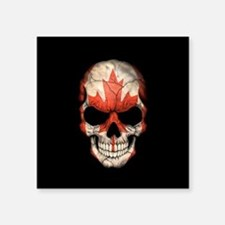 Canadian Flag Skull on Black Sticker