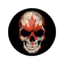 "Canadian Flag Skull on Black 3.5"" Button"