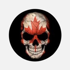 "Canadian Flag Skull on Black 3.5"" Button"