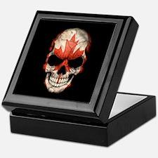 Canadian Flag Skull on Black Keepsake Box